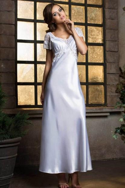 Длинная белоснежная атласная ночная сорочка Mia-Mia Lady in white 17258 - фото 1