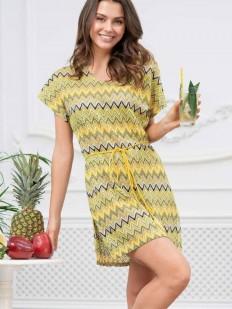 Летнее женское желтое платье туника с коротким рукавом