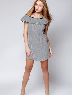Хлопковая свободная ночная сорочка с воланом на плечах