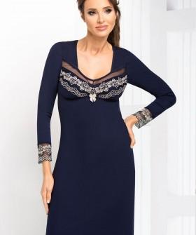 Женская синяя ночная сорочка из вискозы с длинным кружевным рукавом