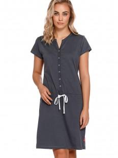 Серая хлопковая сорочка на пуговицах для беременных и кормящих мам