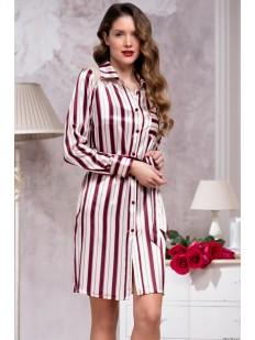 Атласная женская ночная рубашка на пуговицах в бордовую полоску