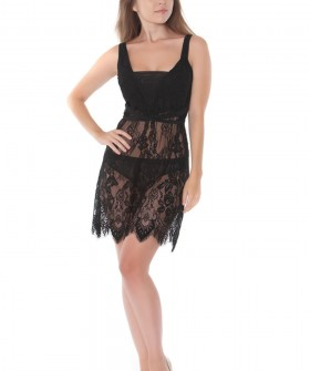 Женское короткое кружевное полупрозрачное платье сорочка