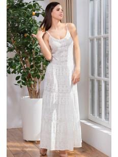 Длинное летнее белое платье сарафан из трикотажа