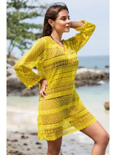 Желтая пляжная туника из кружевного полотна с длинным рукавом