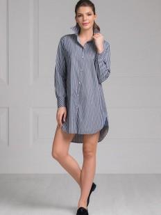 Женская ночная рубашка из хлопка в серую полоску