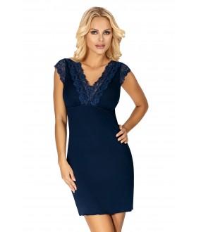 Темно-синяя ночная сорочка из вискозы с коротким кружевным рукавом
