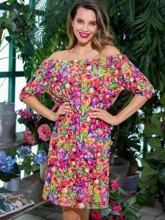 Летнее женское платье с ярким принтом и открытыми плечами