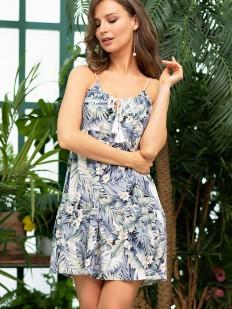 Короткое летнее платье сарафан из вискозы с тропическим принтом