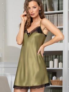 Шелковая женская короткая сорочка на бретелях оливковая