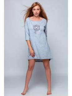 Женская сорочка из хлопка с рукавом 3/4 и с мишкой
