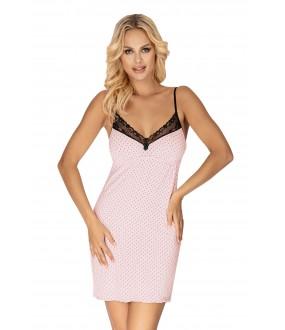 Короткая розовая сорочка из вискозы в черный горошек