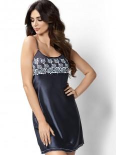 Атласная ночная сорочка женская короткая с кружевным лифом синяя