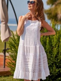 Короткий белый пляжный сарафан из хлопка с рельефной вышивкой