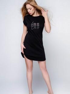 Черная ночная сорочка из хлопка свободного кроя