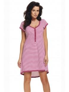 Полосатая сорочка в роддом для беременных и кормящих розовая