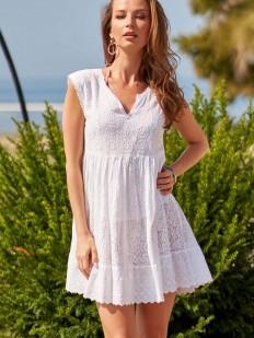 Короткая белая пляжная туника из хлопка с вышивкой