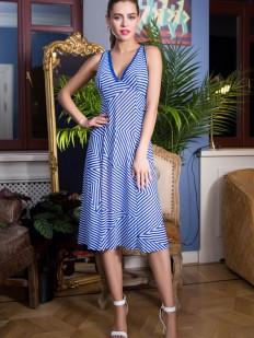 Удлиненное пляжное синее женское платье в полоску без рукавов
