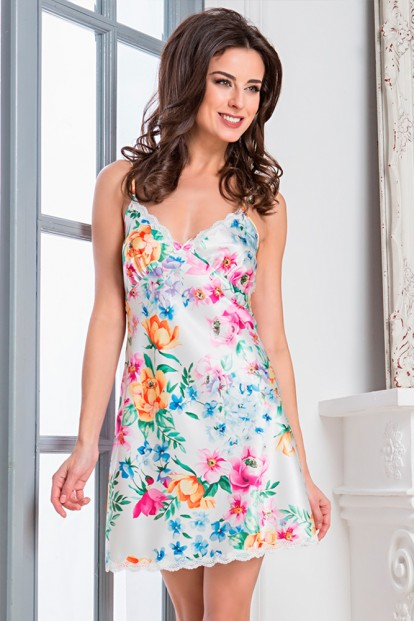 Женская атласная летняя сорочка с цветочным принтом Mia Sofia 9730 Mariella - фото 1