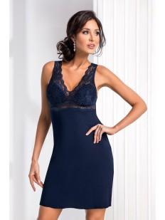 Женская ночная сорочка из вискозы синяя без рукавов