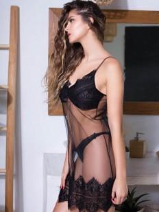 Короткая прозрачная ночная сорочка под платье с черным кружевом