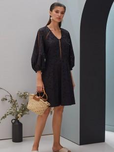 Короткое черное платье из хлопка с широкими рукавами