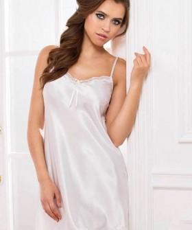 Короткая атласная свадебная сорочка белая на тонких бретелях