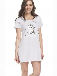 Серая короткая женская ночная сорочка из хлопка с принтом
