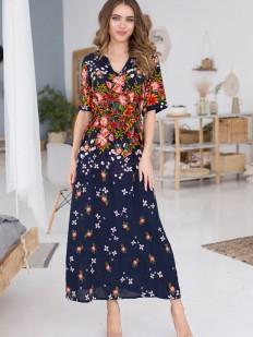 Длинное домашнее женское платье из вискозы