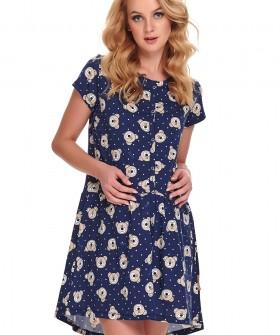 Синяя женская летняя сорочка с мишками