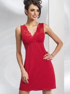 Короткая красная ночная сорочка из вискозы без рукавов