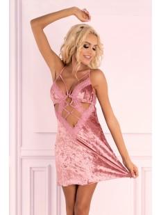 Короткая велюровая сорочка розового цвета