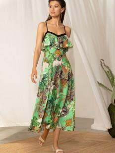 Летнее платье миди сарафанного типа с зеленым принтом