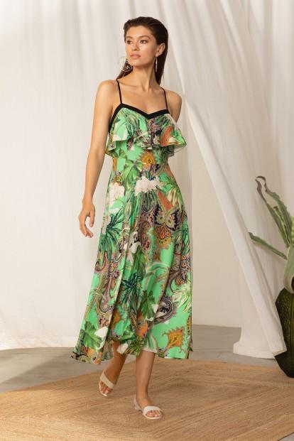 Летнее платье миди с зеленым принтом Laete 61732 - фото 1