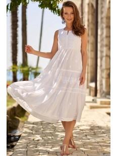 Длинный белый хлопковый пляжный сарафан с вышивкой