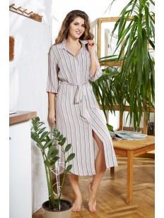 Длинное женское домашнее платье в полоску на пуговицах сиреневое