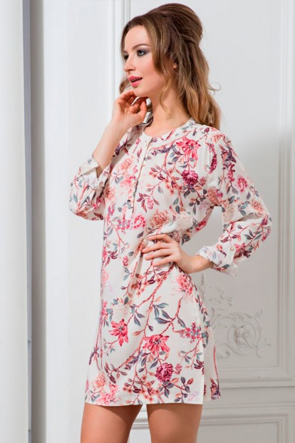 Легкая хлопковая ночная сорочка с цветами Mia-Mella Paradise 6405 - фото 1