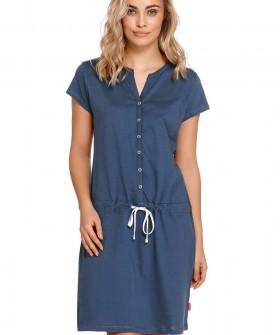 Синяя хлопковая сорочка на пуговицах для беременных и кормящих мам