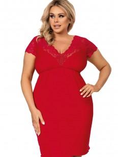 Красная женская ночная сорочка большого размера из вискозы с кружевом