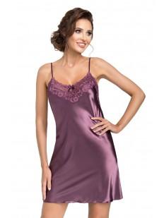 Атласная ночная сорочка женская короткая с кружевным лифом лиловая