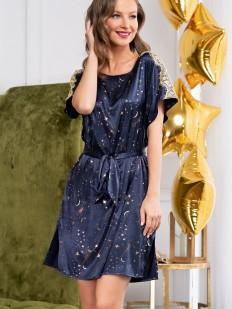 Атласная женская туника синего цвета с принтом звездное небо