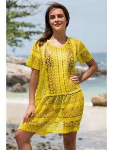 Желтая пляжная туника с коротким рукавом