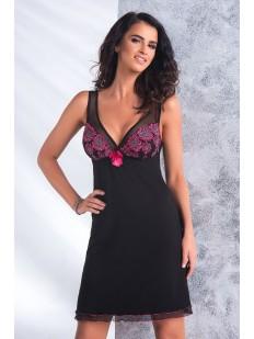 Женская ночная сорочка черная из вискозы без рукавов с кружевным лифом