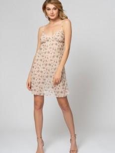 Короткая телесная ночная сорочка с цветочным принтом