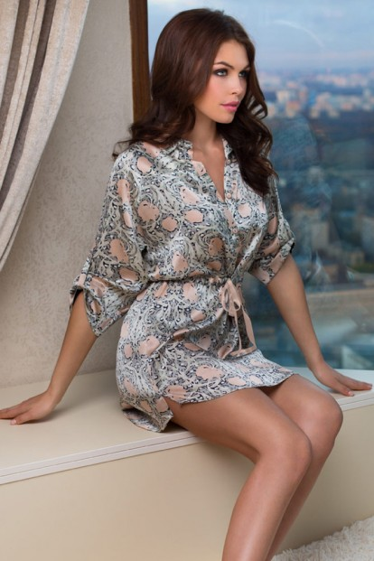 Шелковый женский короткий халат с принтом Mia-Mia Dior 15086 - фото 1