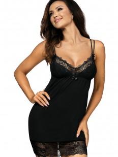 Черная ночная сорочка из вискозы с кружевом на тонких бретелях