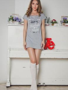 Женская хлопковая ночная сорочка с коротким рукавом