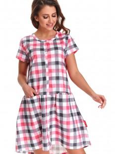 Клетчатая летняя женская сорочка свободного кроя на кнопках