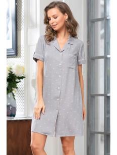 Женская ночная рубашка из серой вискозы в горошек