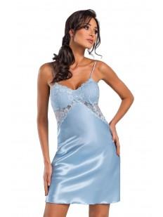 Атласная ночная сорочка женская короткая с кружевным лифом голубая